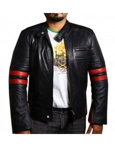 Bikers Red Stripes Mens Nappa Leather Jacket