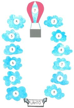 (0.-2.lk) Kuumailmapallopelissä harjoitellaan yhteenlaskua ja päässälaskua pienillä luvuilla (kymppiparit). Peliä pelataan pareittain. Voittaja on se pelaaja, joka ensimmäisenä pääsee kuumailmapallon kyytiin.