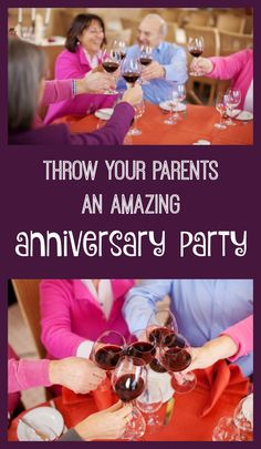 How to throw an awesome anniversary party for parents. Party ideas 25th anniversary, 50th anniversary. Classy and functional party ideas for adults. 60th Anniversary Parties, Anniversary Party Decorations, Golden Anniversary, Happy Anniversary, 30th Anniversary Gifts For Parents, Second Anniversary, Anniversary Invitations, Classy, Awesome