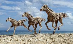 Galloping horses made from driftwood by James Doran-Webb, as featured on TwistedSifter.