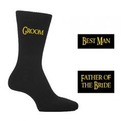 £2.50 Black Lord of the Rings Style Font Socks - Groom, Best Man, Usher, Father of the Groom etc..