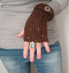 Crochet Fingerless Mittens Rich Browns by daiseychain on Etsy, $16.50