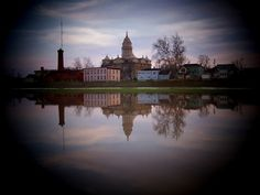 Troy, Ohio. My home town since 1999. This view shows the Miami County Court House, as seen from the levee on the north side of the Great Miami River.
