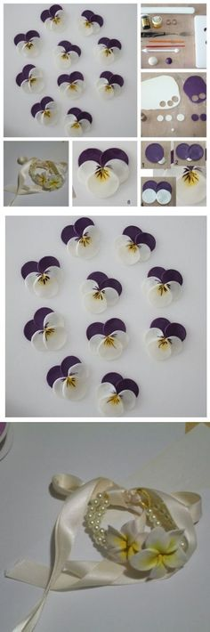 Flowers Pansies from polymeric clay Clay Flowers, Sugar Flowers, Fabric Flowers, Paper Flowers, Foam Crafts, Fabric Crafts, Sewing Crafts, Paper Crafts, Hobbies And Crafts