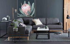 Atticus modular, Jessica designer chair, beacon coffee table and console, wall art Oz Design Furniture, Chair Design, Chaise Sofa, Sofa Bed, Lato Font, Living Spaces, Living Room, Modular Sofa, Atticus