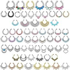 Fake Septum Ring - 200+ Designs/Colours Clip-On Gem Nose Hoop Indian Non-Pierced
