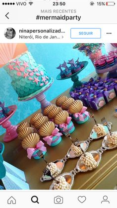 Under The Sea Ideas for a party Mermaid Theme Birthday, Little Mermaid Birthday, Little Mermaid Parties, Mermaid Baby Showers, Baby Mermaid, 3rd Birthday Parties, Baby Birthday, Birthday Ideas, Quinceanera