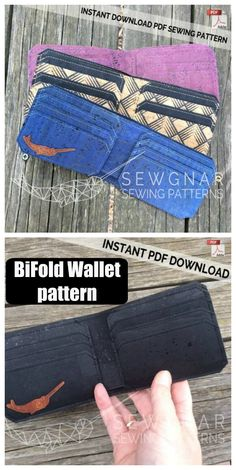 Bifold Wallet sewing pattern ideal for sewing with cork, leather or vinyl - Sew Modern Bags Mens Sewing Patterns, Wallet Sewing Pattern, Leather Wallet Pattern, Bag Patterns To Sew, Diy Mens Wallet Pattern, Diy Wallet Mens, Sew Wallet, Fabric Wallet, Simple Wallet