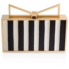 Sara Battaglia LadyMe Elizabeth Clutch (€1.105) ❤ liked on Polyvore featuring bags, handbags, clutches, black and white, stripe handbag, sara battaglia, striped handbag, striped purse and stripe purse