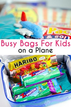Busy Bags for kids on a plane are a fun idea to help keep kids busy while traveling and make them feel special with their own carry-on. #kidstravel #travelwithkids #travel #kids