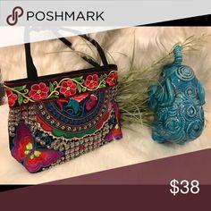 "Embroidered Ethnic Bag Embroidered Ethnic Bag with top zipper closure and beaded handle 13""x8""x4"". Bags"