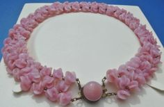 Louis-Rousselet-Pink-Poured-Glass-Flowers-swirled-bead-Necklace