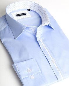 - Elegant Italian spread collar shirt, - Featured with a central white and dot pipeline, - White and blue dot button placket and collar interior, - Double button Napolitan cuff design, - Squared white