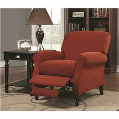 Recliners Push-Back Recliner in Simple Traditional Style by Coaster - HomePlex Furniture - High Leg Recliner