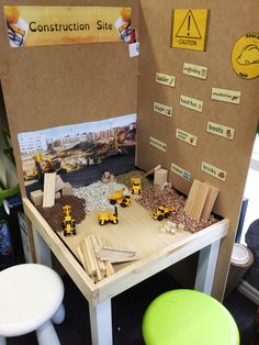 Sensory Small World Construction Site: built up walls on my IKEA lack table, got a whole heap of cheap beans and leftovers from the woodwork table. Added some toy diggers. Investigations.