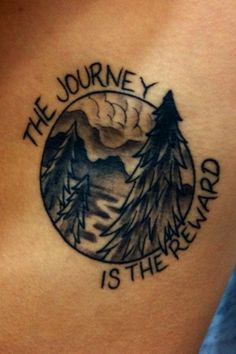 No joke, I almost got a tattoo very similar to this when I worked at YNP. Only I didn't have the words or the circle, and I had a palmetto tree instead of pines. The river (which might just be a path in this one) would be replicating St. Clair, mountains representing YNP and the palms for South Carolina. All the places I have lived!