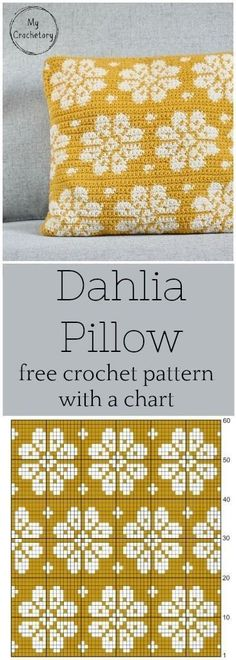 This crochet cushion pattern is simple, elegant and modern. The perfect pillow to personalize your home. Free crochet pattern with a chart and intarsia crochet… Crochet Pillow Patterns Free, Tapestry Crochet Patterns, Crochet Chart, Diy Crochet, Free Pattern, Crochet Blocks, Crochet Granny, Blanket Crochet, Pattern Ideas