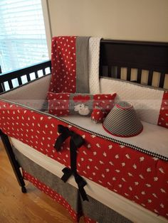 Houndstooth and Elephants Custom Baby Bedding Ensemble - 2 Piece Set. $293.00, via Etsy.