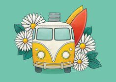 #illustration #kombi #daisies