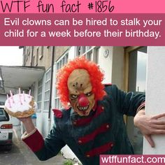 THIS is the ABSOLUTE creepiest freaking thing I have ever seen in my life. Stop. Like right now. WHATTTT!??? Who would do that to their kid! Oh my gosh I would die before my birthday even came! And p.s. This is not funny to me I just dot haw a board to put a creepy clown in...and I didn't want to like it either put I need to keep it to show other people haha