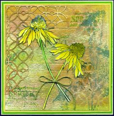 night time stamping: Flower Garden card using Tim Holtz, Ranger, Idea-ology, Sizzix and Stamper's Anonymous products; June 2015  NTS: nice use of the positive and negative of the background design