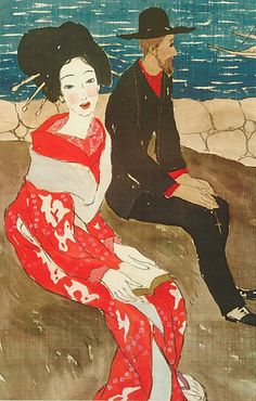 """By Yumeji Takehisa (1884-19340, 1920s, Beauty and Foreigner. The dreamy, fragile looking girls Yumeji invented in his works were so popular during 1900-1930s that they became the cultural icon of the Taisho - early Showa era. Many artists imitated this """"Yumeji Look"""" in order to jump on the band wagon of Yumeji popularity."""