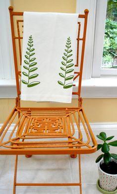 Green Pine Fern. Cream Linen Tea Towel. Kitchen Towel.