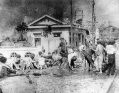 After the A-bomb: What photographers encountered in Hiroshima... Survivors of the first atomic bomb ever used in warfare are seen as they await emergency medical treatment in Hiroshima, Japan, on Aug. 6, 1945. - The Washington Post