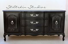 Weathered Black French Provincial Buffet by StiltskinStudios, $775.00