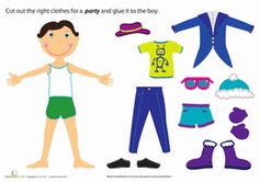Preschool Paper Projects Social Skills Worksheets: Paper Doll Boy: Party Fashion