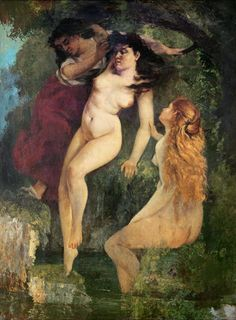 Bathers A wonderful painting by Gustave Courbet of two nude girls going for a swim as another lady in the background is still to disrobe. Boost Your Sex Drive With Erotic Art. French Paintings, Classic Paintings, Vintage Paintings, Vintage Art, Statues, Origin Of The World, Gustave Courbet, Great Works Of Art, Oil Painting Reproductions