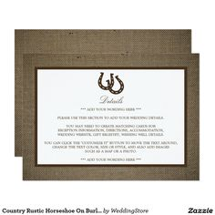 Country Rustic Horseshoe On Burlap Wedding Detail