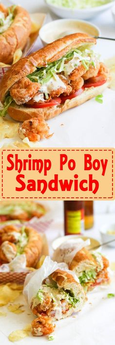 Shrimp po' boy Sandwich Shrimp po' boy sandwich- Crispy Crunchy shrimp piled mile high on buttered toasted French roll, stuffed with crunchy cabbage, Fresh tomatoes - drizzled with a lip smacking remoulade sauce . Cajun Recipes, Fish Recipes, Seafood Recipes, Cooking Recipes, Pizza Hamburger, Po Boy Sandwich, Shrimp Sandwich, Salad Sandwich, Shrimp Po Boy