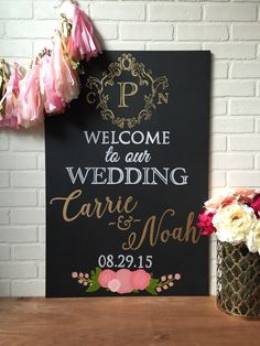 Gorgeous wedding welcome sign in gold and white with lovely blush and white florals!  Etsy Shop: BeauTiedAffair