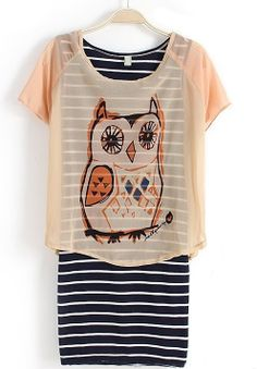 Pink Short Sleeve Owl Print With Striped Two Pieces Dress