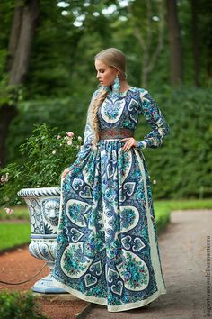 "Designer womens dresses Full lenght blue summer with exclusive print. Floral Maxi dress with long sleeve from my collection ""Empress"" Exclu. Modest Fashion, Hijab Fashion, Fashion Dresses, Gypsy Dresses, Modest Dresses, Floral Maxi Dress, Boho Dress, Mode Russe, Ethno Design"