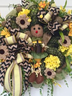 Spring and Summer Burlap Mesh Bumble Bee Wreath by WilliamsFloral on Etsy https://www.etsy.com/listing/229051950/spring-and-summer-burlap-mesh-bumble-bee