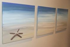 Starfish Sandy Beach = Original Seascape Canvas Painting by Stephanie Beach Room, Beach Art, Blue Beach, Beach Canvas, Canvas Art, Three Canvas Painting, Large Canvas, Beach Bathrooms, Beach Crafts