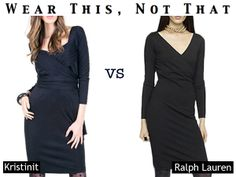 """Love FashioningChange.com's """"Wear this Not That"""" section. http://fashioningchange.com/  Here is the Kristinit Anouk Peplum Dress vs. Ralph Lauren. Kristinit, manufactured by women in the USA, vs. R.L. and contracted sweatshops."""