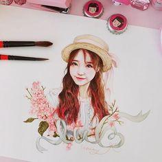 #저이날정말잠못잤습니다🍑복순이실사판...?#아이유#사랑해요 #여신#최소요정#유애나 #아트 #팬아트#수채화 #반짝살아있어요#iu#uaena #art#artwork #fanart #colorpencil #watercolor #painting #drawing #nawden #징짱#보고싶어요 #감사합니다💖 Kpop Drawings, Art Drawings, Art Station, Korean Art, Color Pencil Art, Kpop Fanart, Drawing People, Art Sketches, Amazing Art