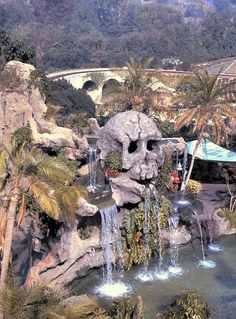 Overhead view of Skull Rock in Fantasyland in 1967.