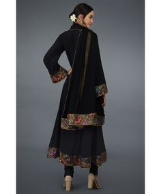 From our heritage Parsi Gara hand embroidered suits collection, this is a black Parsi Gara hand embroidered pure crepe silk anarkali kurta paired with black pure georgette silk dupatta and pure crepe silk lowers. The parsi gara embroidery is in s Indian Heritage, Silk Dupatta, Embroidery Suits, Anarkali Suits, Occasion Wear, Shades Of Purple, Hemline, Sarees, Ready To Wear