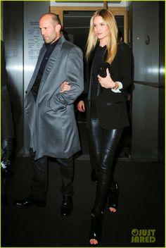 Rosie Huntington-Whiteley with Jason Statham leaving Nobu restaurant after dinner in London, England