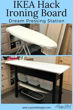 Upgrade your ironing board to the pressing station of your dreams with this easy IKEA hack. Step by step photos and video tour. Large pressing surface with added storage shelves and drawers. Great for sewing organization. #IroningBoard #Sewing #IKEAhack