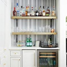 Blue Lacquered Wet Bar Cabinets with Glass Front Beverage Fridge - Transitional - Kitchen Glass Corner Shelves, Glass Shelf Brackets, Glass Shelves In Bathroom, Floating Glass Shelves, Wine Shelves, Tv Nook, Diy Home Bar, Home Bar Designs, Dinner Room