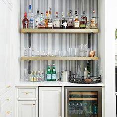 Blue Lacquered Wet Bar Cabinets with Glass Front Beverage Fridge - Transitional - Kitchen Glass Shelf Brackets, Glass Shelves In Bathroom, Floating Glass Shelves, Wet Bar Cabinets, Blue Cabinets, Corner Bar Cabinet, Tv Nook, Diy Home Bar, Wine Shelves