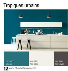 This cuisine illustrates the tropical style while subtlety combining the luxuriance of Aru Blue to the sobriety of Doha Gray and Yerevan Gray.chromaticstor … Deco # Source by Colorful Interior Design, Colorful Interiors, Bright Kitchens, Home Kitchens, Blue Feature Wall, Basement Colors, Kitchen Wall Colors, Kitchen Walls, Style Tropical