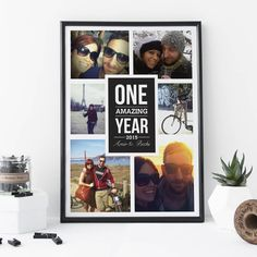 'One Amazing Year' Personalised Photo Print - gifts for couples Professional Photo Shoot, Matching Cards, Paper Dimensions, Box Frames, Couple Gifts, High Quality Images, Boyfriend Gifts, Fine Art Paper, Unique Gifts