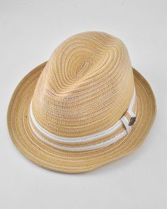Unisex / Natural Fedora / 3tone Paper Braid W/stripe Band / 70% Paper & 30% Polyester / Large To X-large