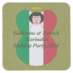 Italian Angel Flag Black Hair Square Paper Coaster designed by @auntieshoe For more angels go to http://www.zazzle.com/angelflags?rf=238656250999501047&tc=PinCoasters